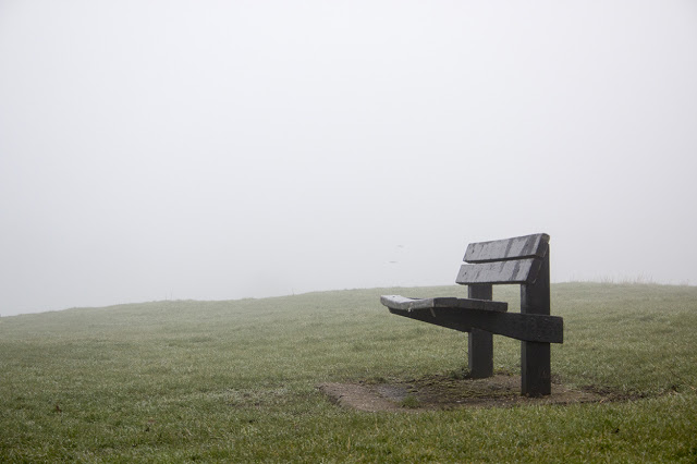 A Game of Two Halves - a bench in the mist