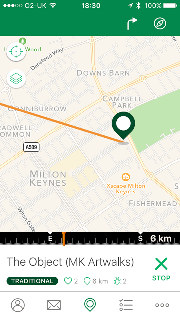 App showing direction you need to go and the Distance.