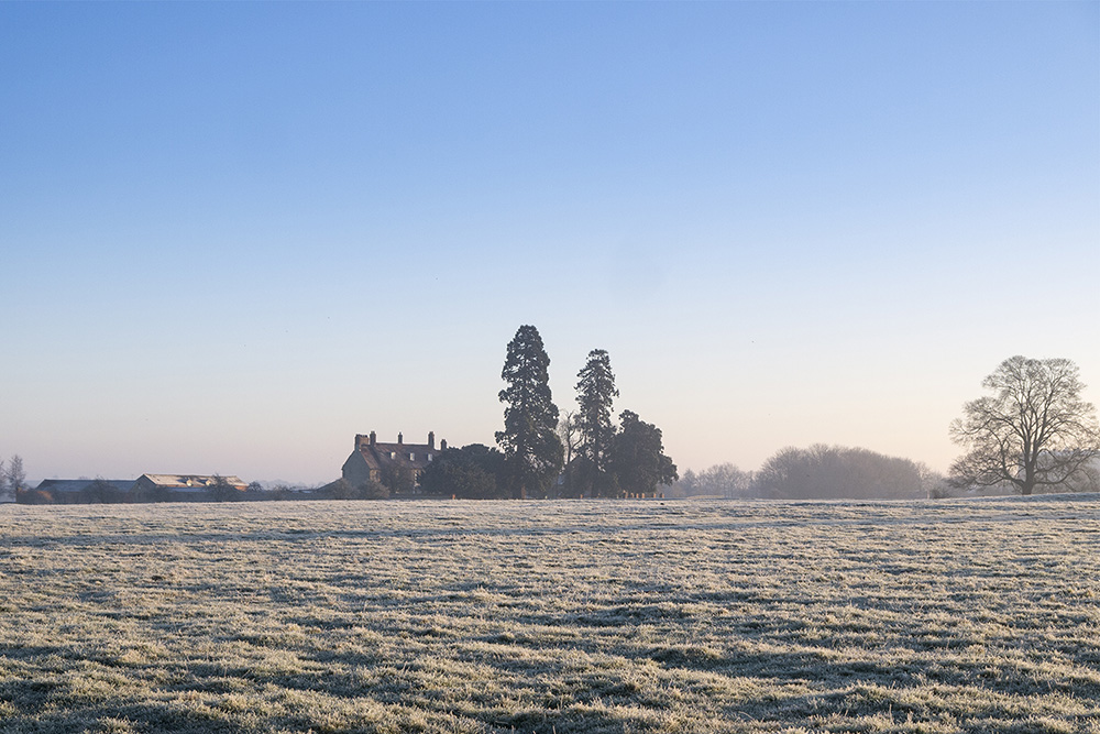 Sparkling Frost - Frosty fields with Manor Farm in the background
