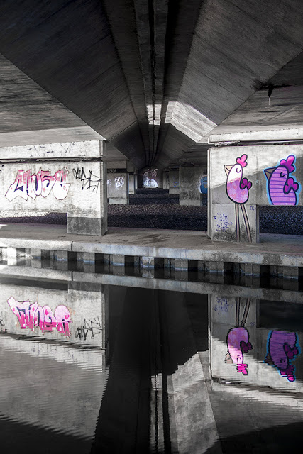 Urban Art and Bridges - A5 supports at Stony Stafford and Pink Chicken Graffiti