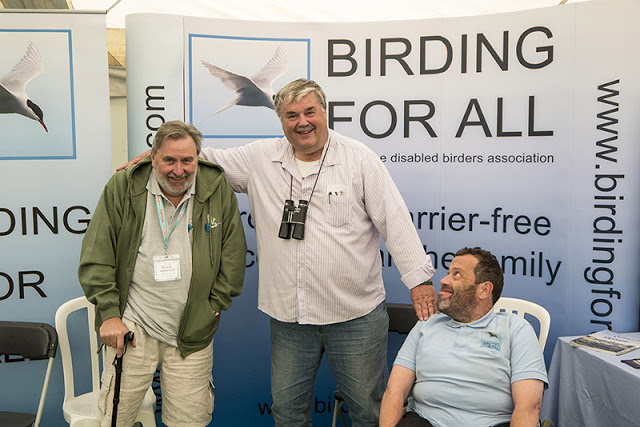 Mark Avery meeting Phil Gatley and Bo Beolens (aka Fatbirder or Dad as I know him)