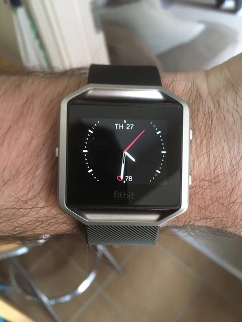 Fitbit Blaze on my wrist (Ace clock face shown)