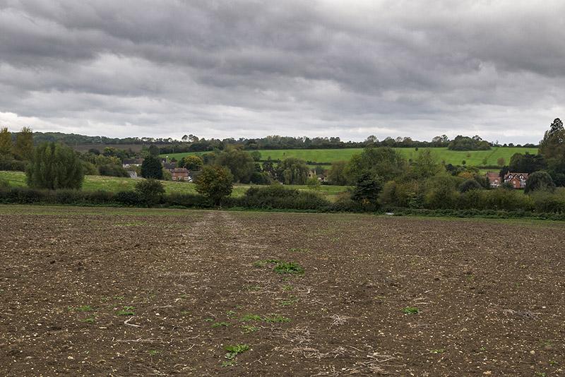 Views back across fields to Beachampton