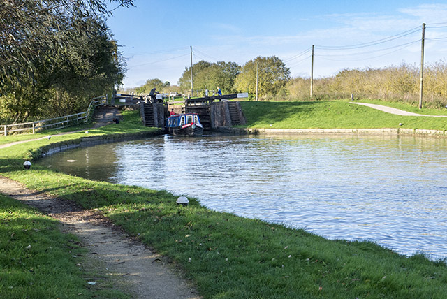 Barge exiting the lock complex at Stoke Bruerne